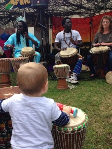 I let him go and do what he wanted at the Mela. Turned out he wanted to join a Senegalese drum circle.